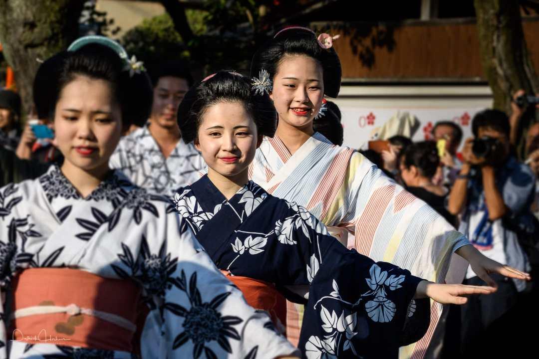 Kamishichiken  maiko and geiko dancing for the Tanabata Bon Odori Event