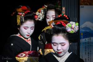 Maiko Umechie wearing the Yakko Shimada hairstyle and a real rice stalk during the Shin Aisatsu in Kamishichiken, Kyoto