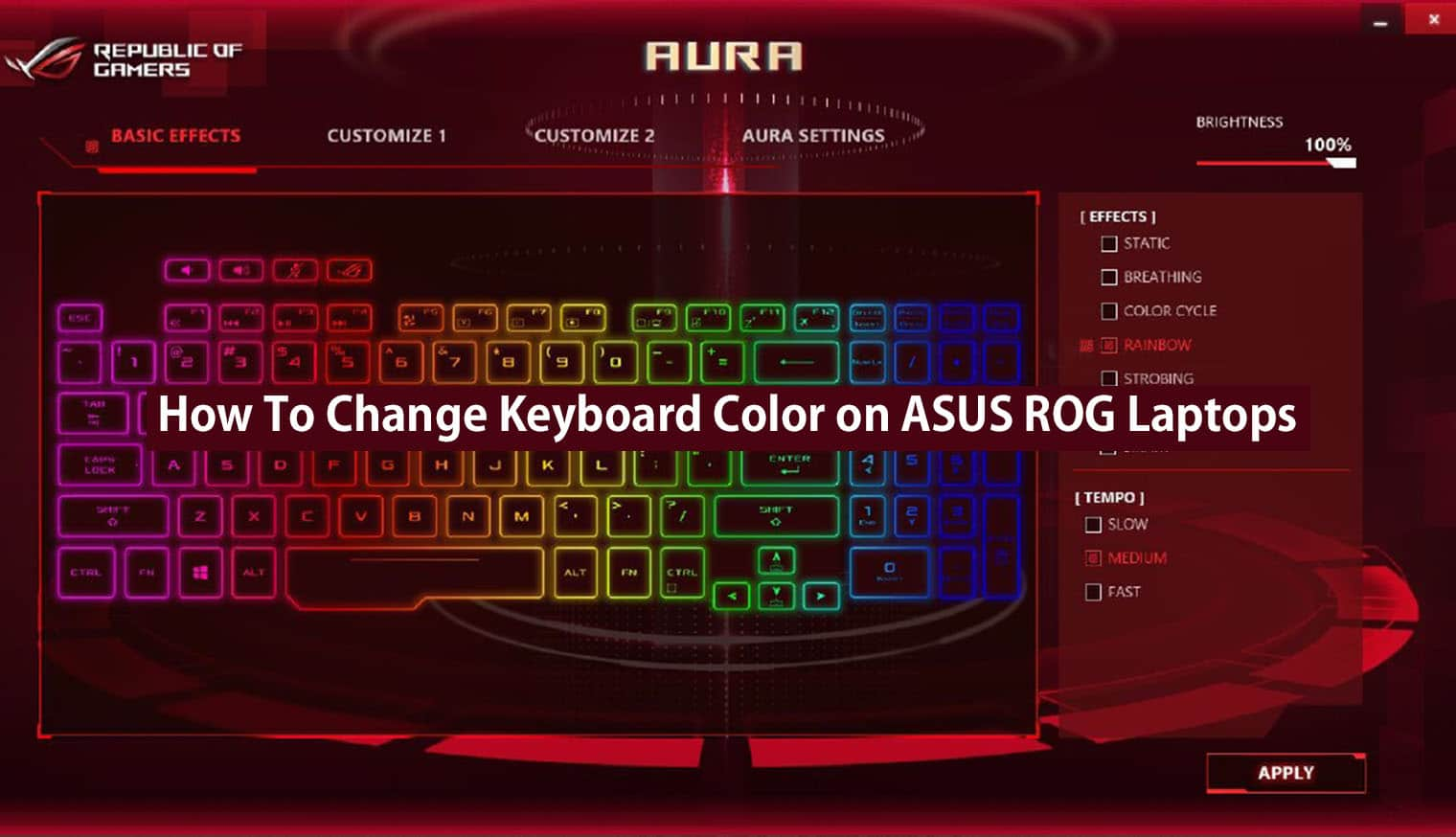 How To Change Keyboard Color On Asus Rog Laptops