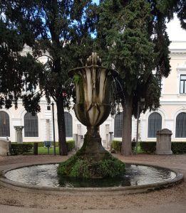 An amphora fountain in the garden of the national Roman museum in Rome.