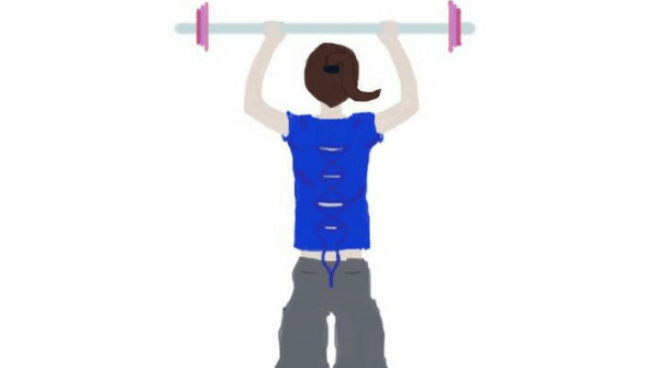 A title picture for November Fitness update on My Lavender Tinted World. The wirting is in the Allura font from Canva and the picture shows a brunette lifting weights. She is dressed i na blue top and grey jogging bottoms.