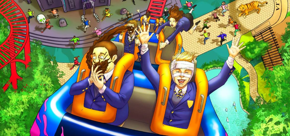 A picture of the belch park field trip kindle covoer. This shows a group of school children on a rollercoaster with lots of blues, pinks and greens