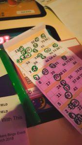 The bingo sheet used for the bonkers bingo event