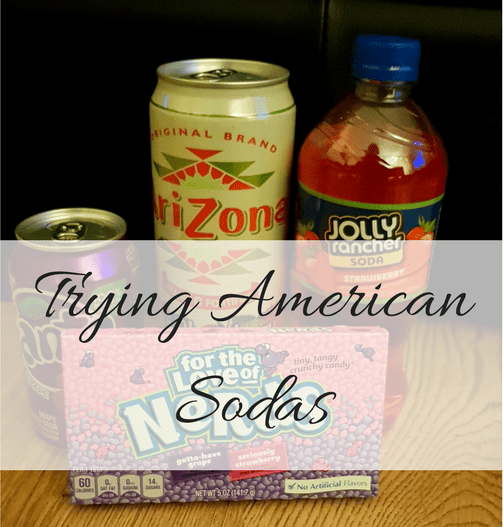 Trying American Sodas title picture shows the can of Grape Fanta, Arizona Kiwi Strawberry and Jolly Rancher in Strawberry that were all tried. Give it a read to find out what I thought to each on My Lavender Tinted World