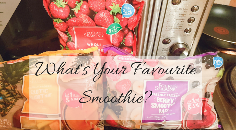 A picture of different frozen fruits and smoothie mixes for the What's Your Favourite Smoothie Blog Post by My Lavender Tinted World