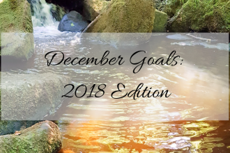 """A photo of Padley Gorge in the Peak District. There is a river surrounded by rocks and trees with a water reflection of the sun shimmering at the bottom of the picture. There is a text overlay stating """"December Goals 2018 Edition"""" which is the title of the post."""