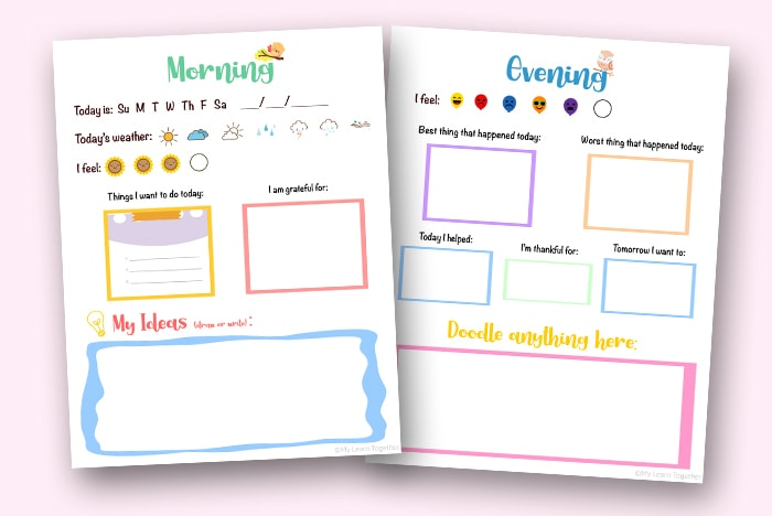 Morning and evening kids' daily printable journal