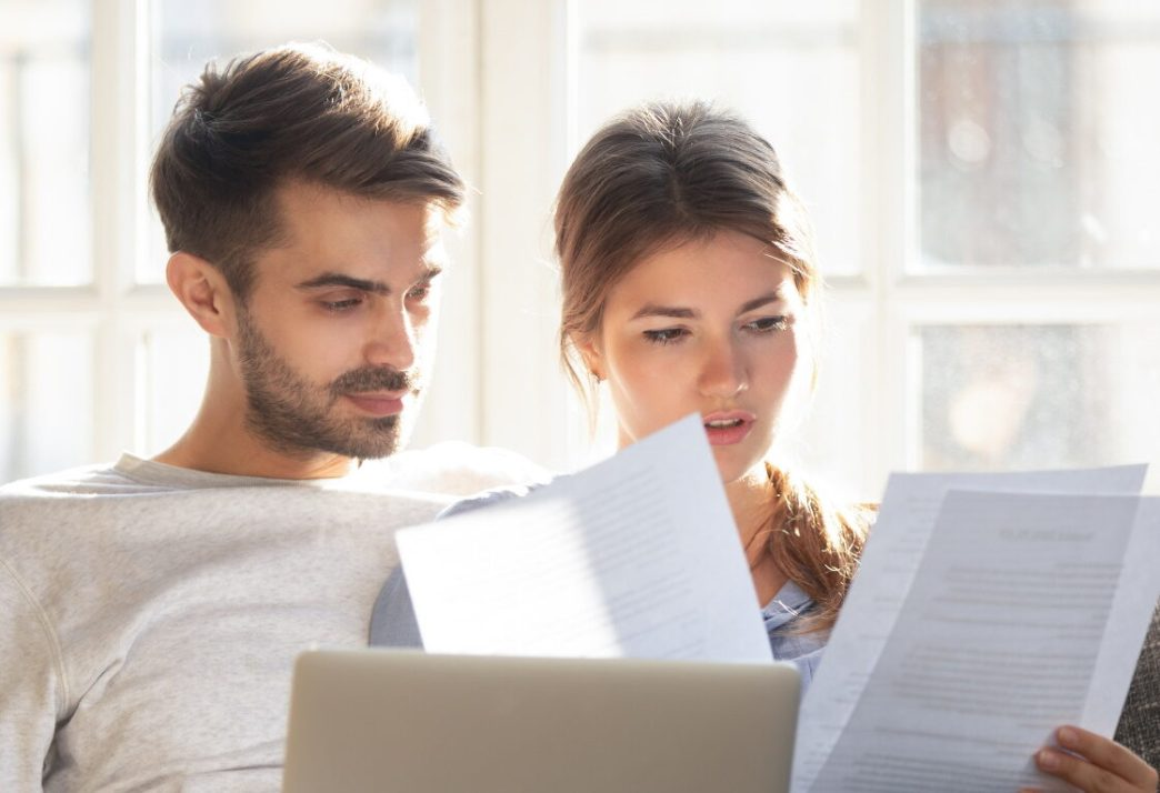 divorcing couple making financial decisions