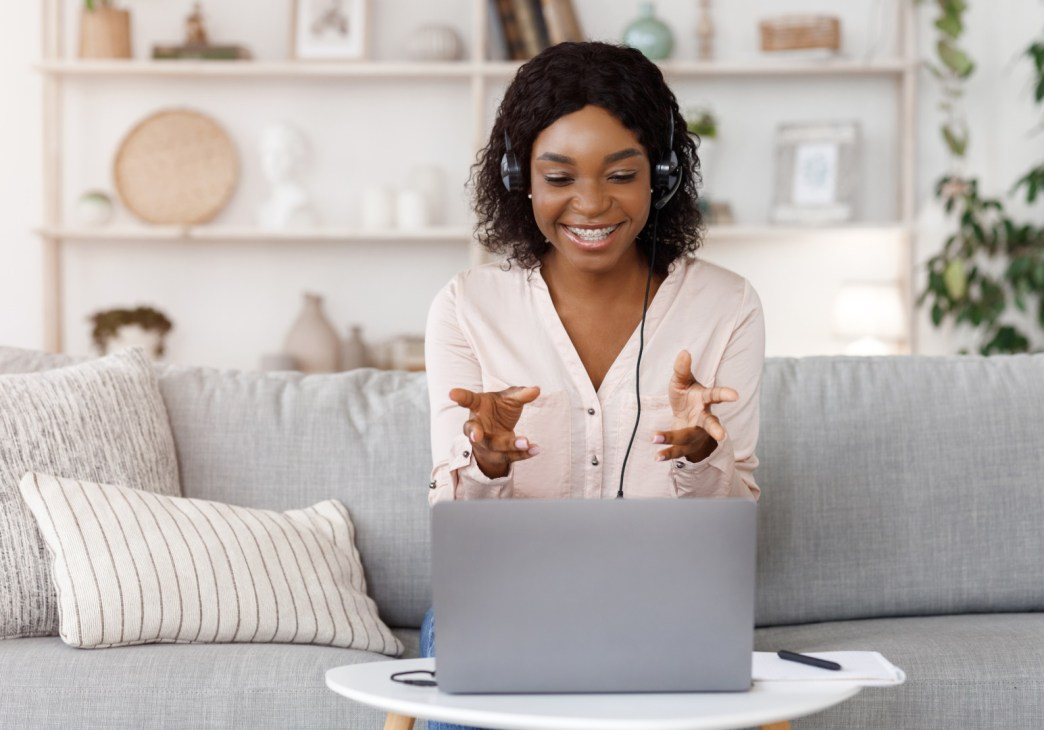 woman meeting virtually with legal coach