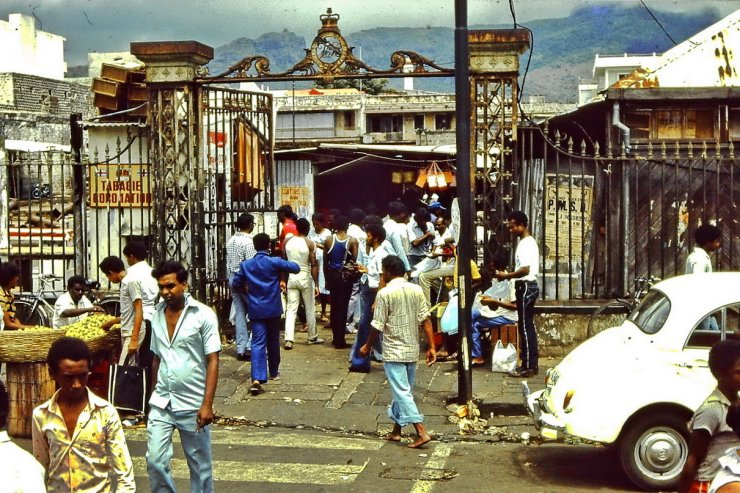 Entrance of the Grand Bazar in Port-Louis, Mauritius 1983.