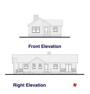 Front, Right Elevation Plans-Custom Small House | High River, Alberta Canada