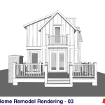 Small Home Renovation and Addition. Bengough Saskatchewan Canada-Rear Exterior Elevations
