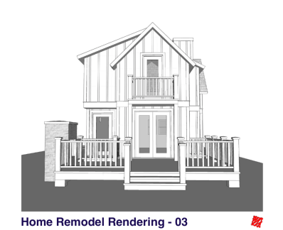 Small Home Renovation and Addition. Bengough Saskatchewan Canada-Rear Exterior Elevations