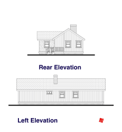 Rear, Left Elevation Plans-Custom Small House   High River, Alberta Canada