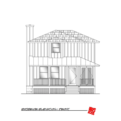 Custom Lowcountry Home Design-Myrtle, Bluffton South Carolina-Elevation Front