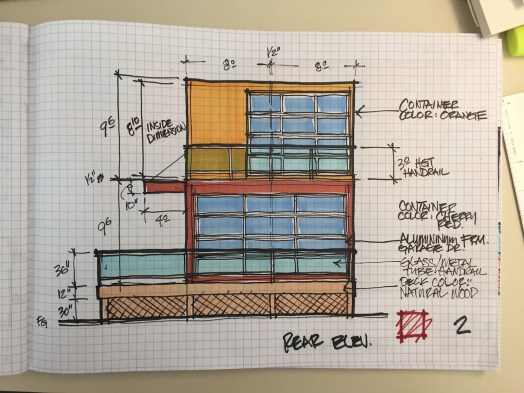 Custom Metal Container Home-2 Story-Proposed Rear Elevation 4