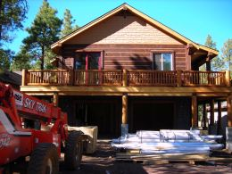 MNMDesign-Square Log Custom Mountain Home-Front Elevation Framing1