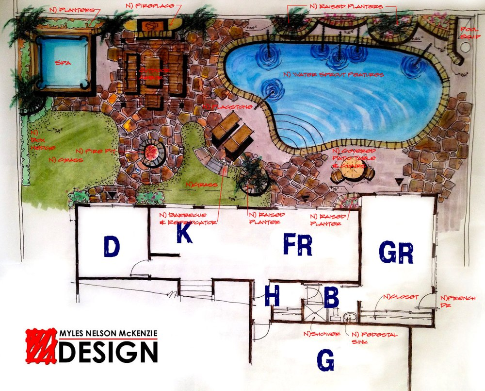 A rear yard concept landscape plan