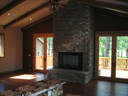 Myles Nelson McKenzie Design-Custom Square Log Mountain Home-Great Room