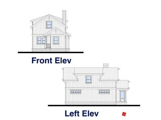Country Cottage Home Design-Bluffton-Elevations Left, Front