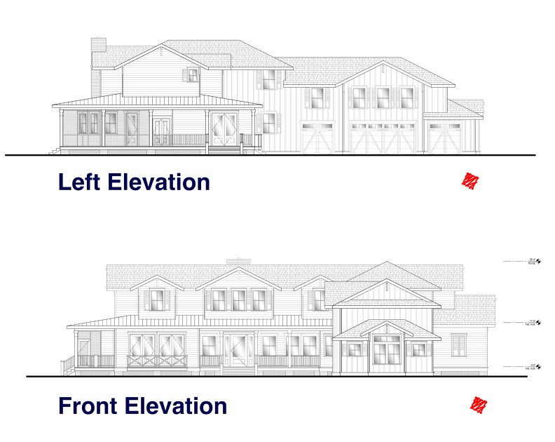 Front and Left Elevation Plans for our Lowcountry Estate Home Design