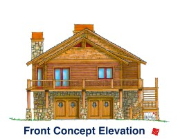 Myles Nelson McKenzie Design-Custom Square Log Mountain Home-Flagstaff AZ-Front Elevation