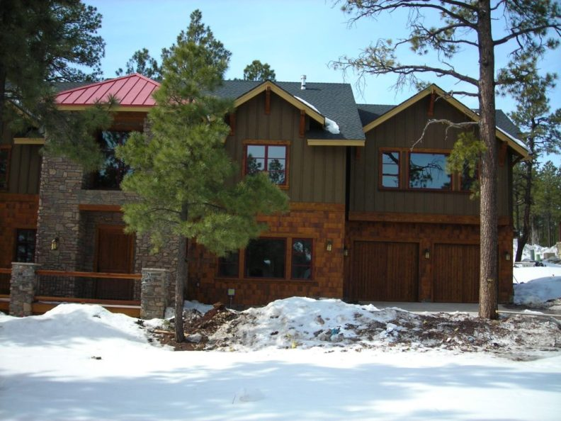 Myles Nelson McKenzie Design-Custom Rustic Home Design-4745 West Braided Rein, Flagstaff Arizona - Front Elevation