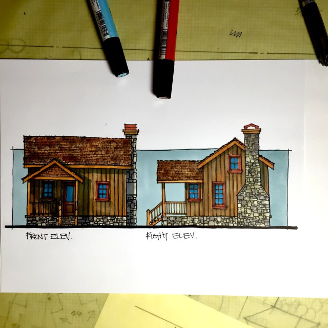 Lake Cabin Design-Exterior Cabin Elevations-Delaronde Lake, Saskatchewan by Myles Nelson McKenzie Design.