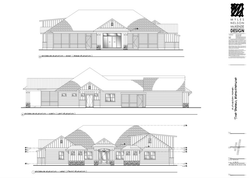Front, Left and Rear Exterior Elevations.