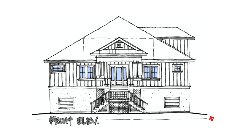 Lowcountry Custom Home Front Exterior Elevations Concept-St. Helena Island, South Carolina