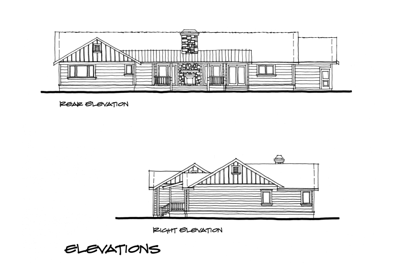 Myles Nelson McKenzie Design-Paradise California-Rustic Mountain Home Design-Concept Rear, Right Exterior Elevations.