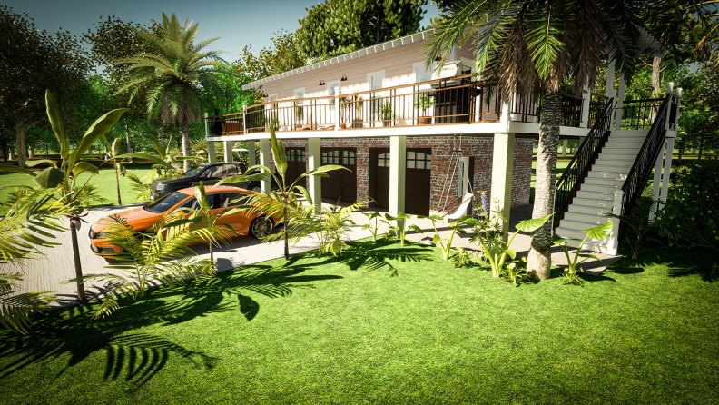A exterior concept design for the ADU residence in Charleston South Carolina.