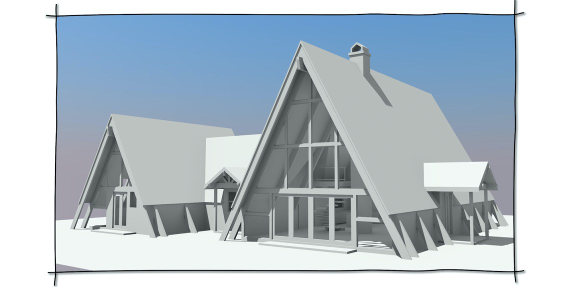 Custom A-frame Home Design for an ocean front property in the state of Maine.