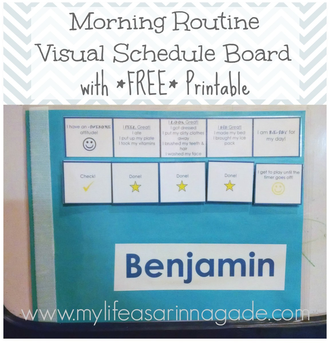 Morning Routine Visual Schedule Board with *FREE* Printable