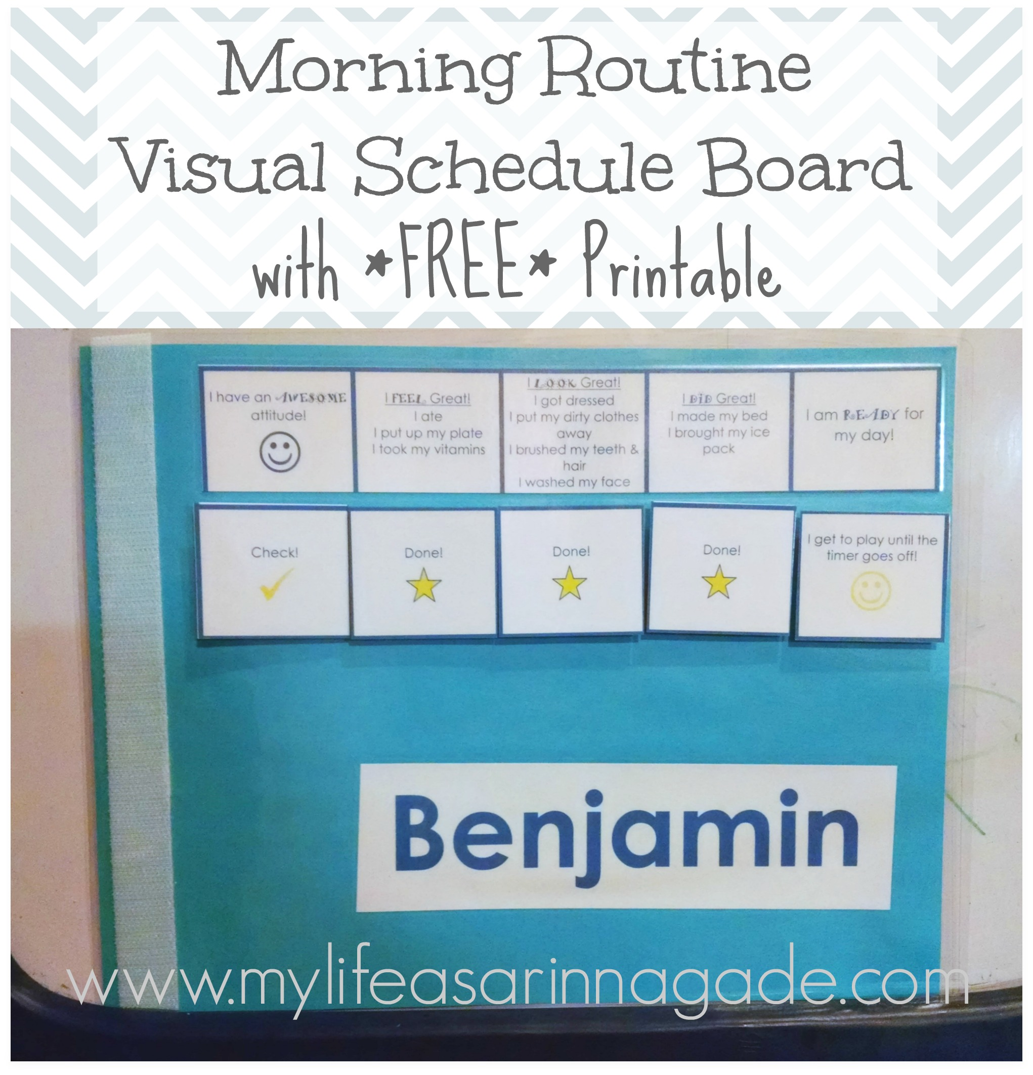 graphic about Morning Routine Printable called Early morning Program Visible Routine Board with Totally free Printable