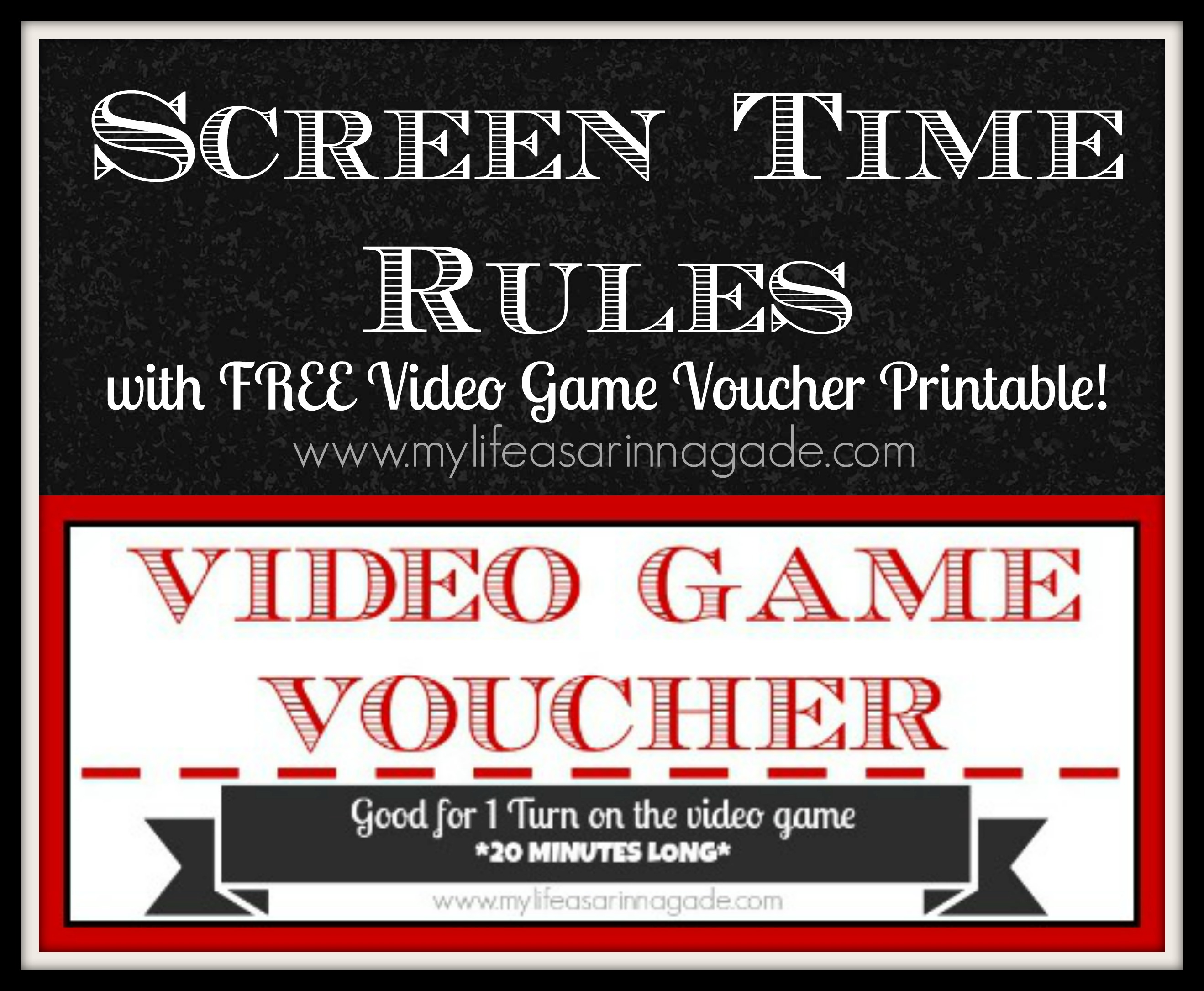 photo about Screen Time Rules Printable titled Display screen Year Guidelines with Totally free Video clip Sport Voucher Printable