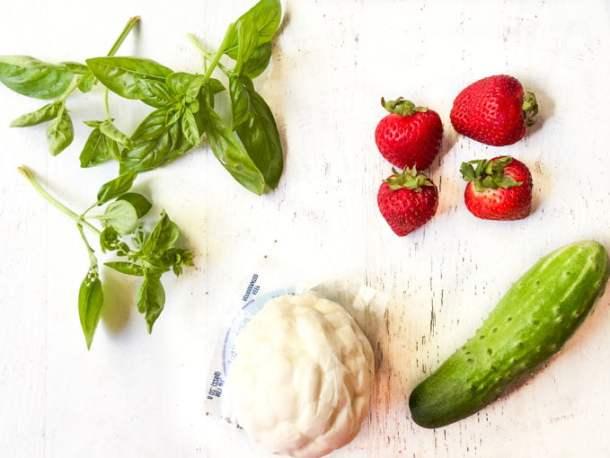 fresh basil leaves, strawberries, fresh mozzarella and cucumber