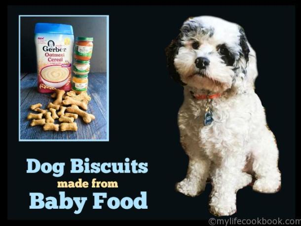 photo of puppy with baby food and dog treats and text