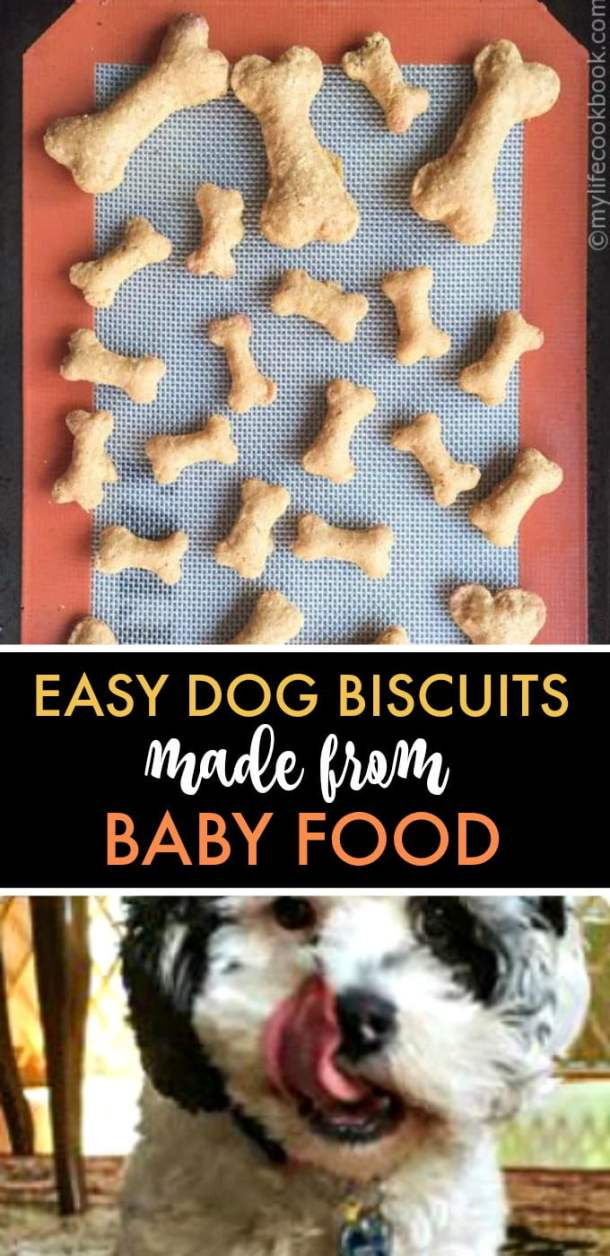 homemade dog biscuits and dog licking lips and text overlay