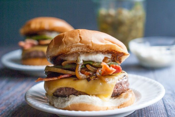 This ultimate burger with jalapeño aioli has everything you want in a burger. The jalapeño aioli tastes great on everything!