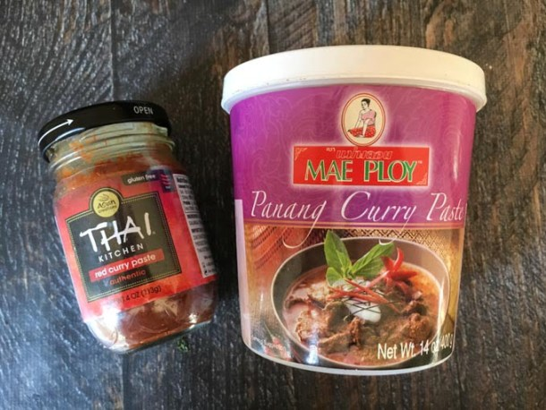 Thai Kitchen curry paste jar and Mae Ploy Panang Curry Paste container