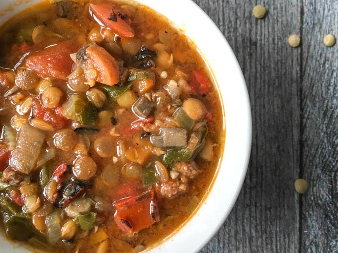 This easy lentil & sausage soup takes no time at all in the Instant Pot. It's a tasty, hearty soup that's more like a meal in a bowl.