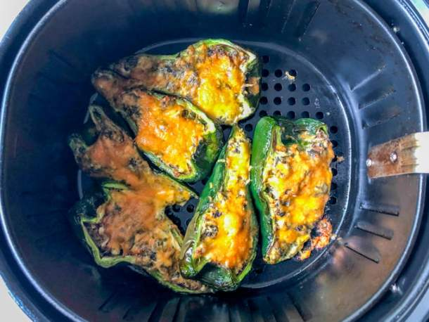 cooked stuffed peppers in air fryer basket