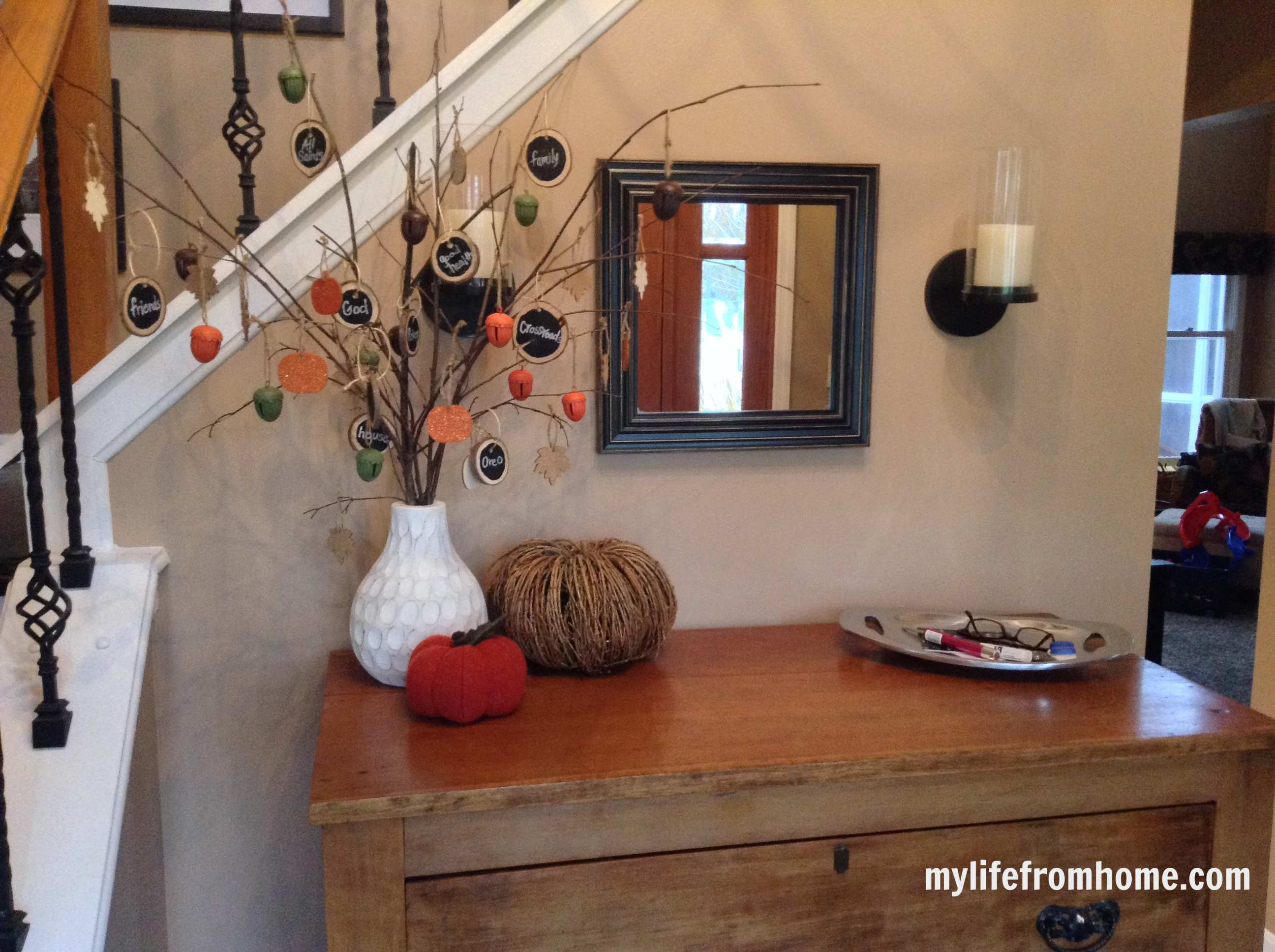 Other added touches are throughout the home  My kitchen scale even gets a  pumpkin. Harvest Home Tour  Fall Blog Hop   My Life From Home