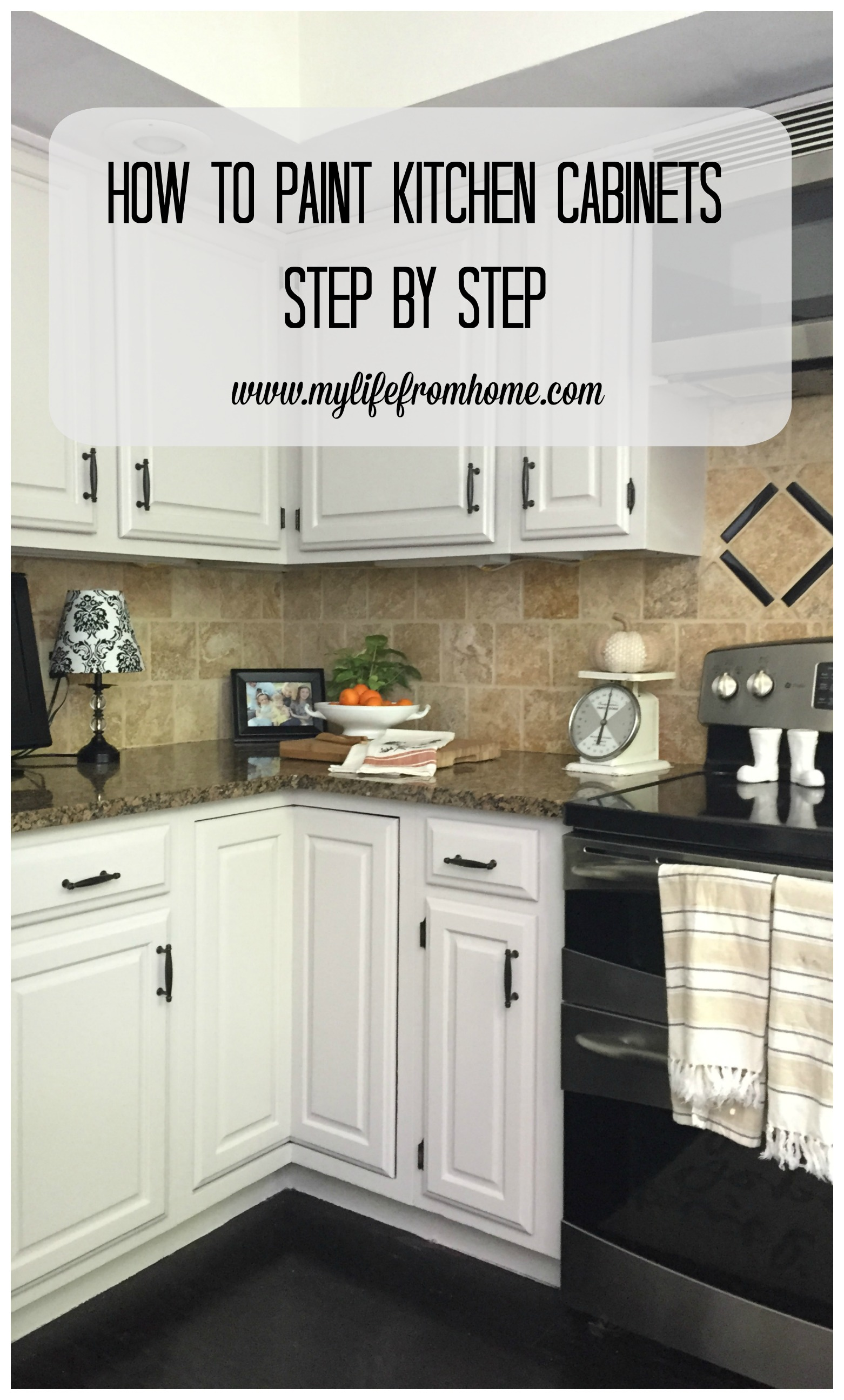 How to Paint Kitchen Cabinets Step by Step by www.mylifefromhome.com paint painted cabinets kitchen cabinet painting DIY painted cabinets