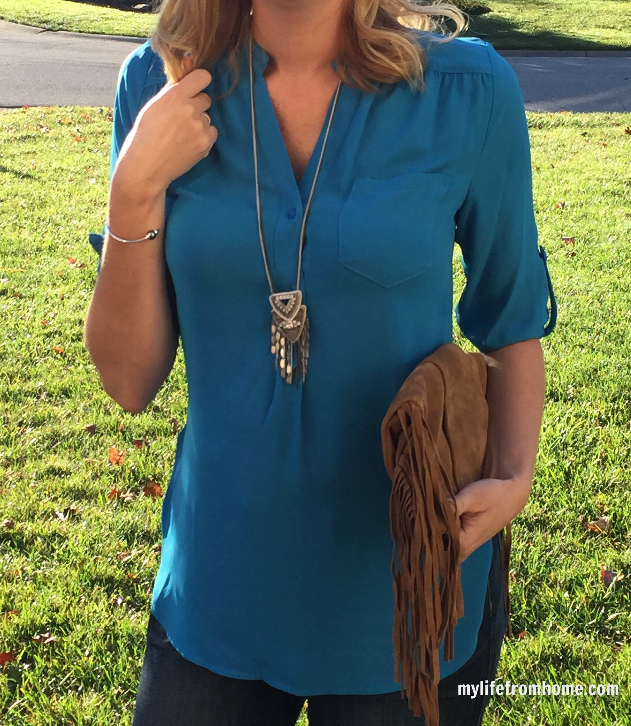 Stitch Fix Blouse, Stella & Dot Necklace and Fringe Purse by www.mylifefromhome.com