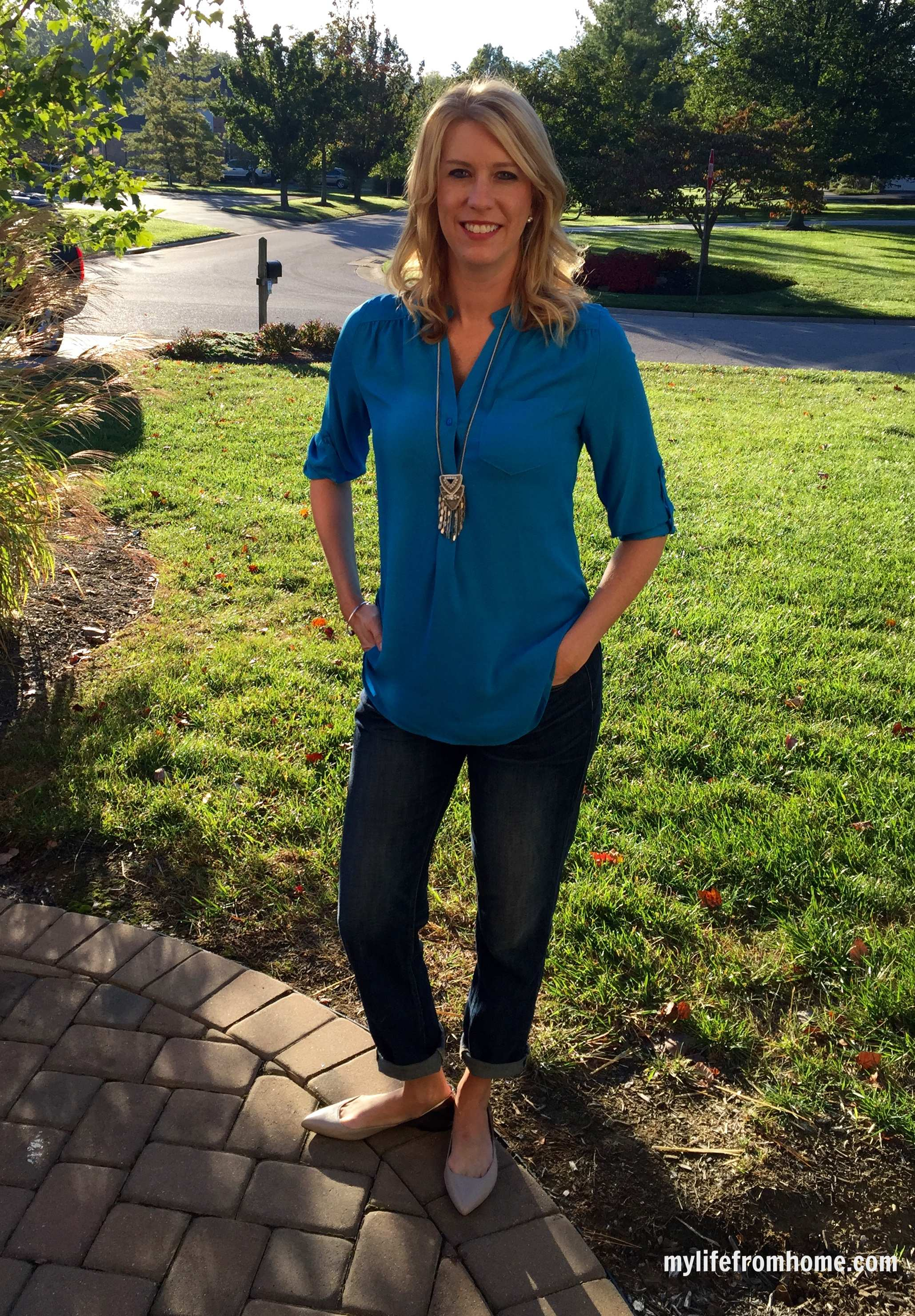 Stitch Fix Blouse & Stella & Dot Necklace by www.whitecottagehomeandliving.com