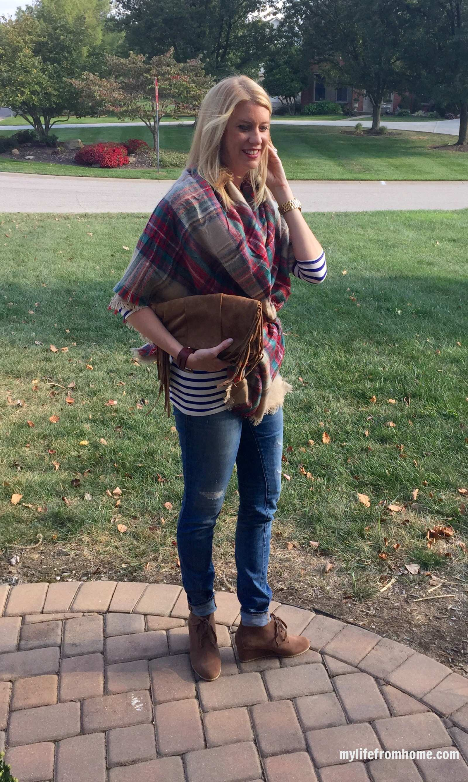 Blanket Scarf Over the Shoulder Look by www.mylifefromhome.com