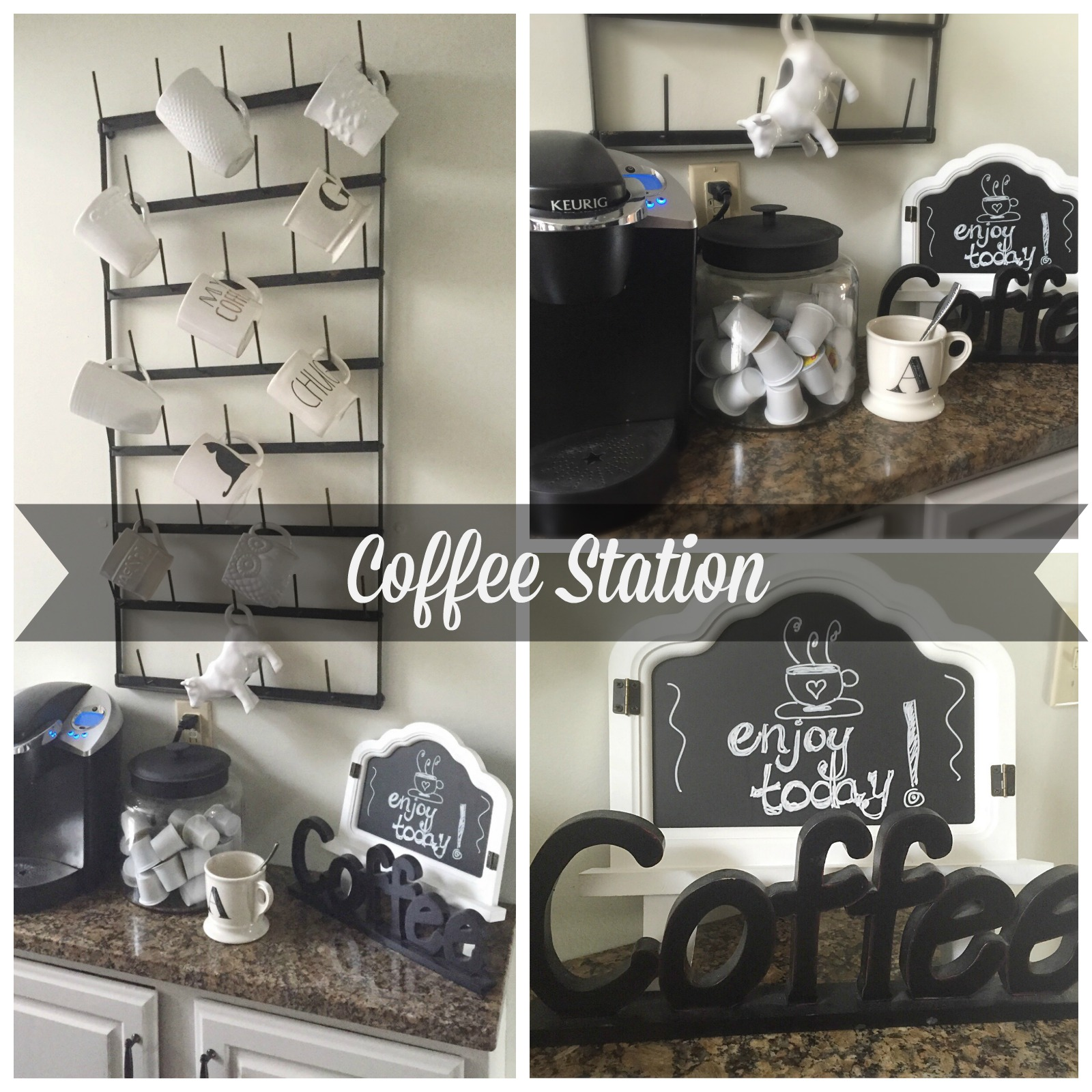 Coffee Station- creating a space for coffee- coffee area- organization- white mugs- mug rack