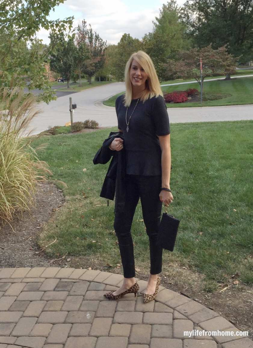 Coated Denim, Peplum Top, Leopard Heels for Date Night by www.mylifefromhome.com